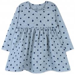 Платье для девочки, серое. Блестящие сердечка.