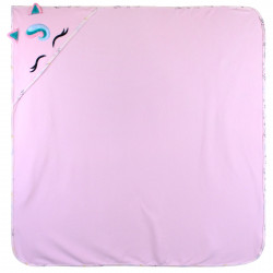 Полотенце с уголком, пеленка с уголком, розовое. Единорог. 90*90 см.