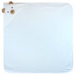 Полотенце с уголком, пеленка с уголком, белое. Мишка. 90*90 см.