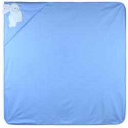 Полотенце с уголком, пеленка с уголком, голубое. Заяц. 90*90 см.