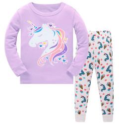 Пижама для девочки, сиреневая. Единорог и сердечки.