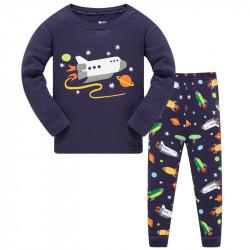 Пижама для мальчика, темно-синяя. Ракета в космосе.