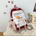 Детский рюкзак, школьный, бордовый. Зайчик и морковка.