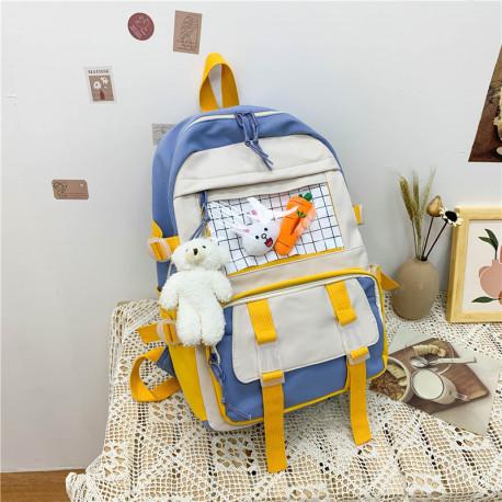 Детский рюкзак, школьный, синий. Зайчик и морковка.
