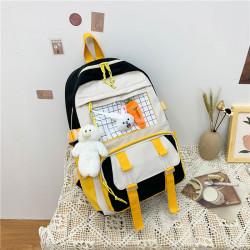Детский рюкзак, школьный, черный. Зайчик и морковка.