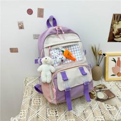 Детский рюкзак, школьный, сиреневый. Зайчик и морковка.