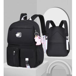 Детский рюкзак, школьный, черный. Радужный единорог. ( Без брелка )