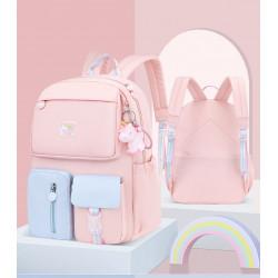 Детский рюкзак, школьный, розовый с голубым. Радужный единорог. ( Без брелка )