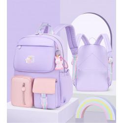 Детский рюкзак, школьный, сиреневый. Радужный единорог.