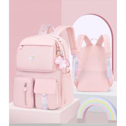 Детский рюкзак, школьный, розовый. Радужный единорог. ( Без брелка )