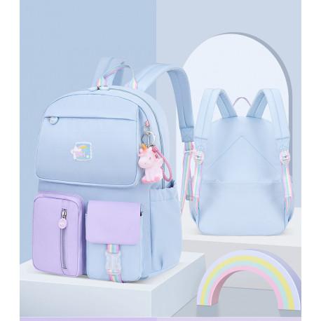 Детский рюкзак, школьный, голубой. Радужный единорог.