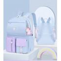 Детский рюкзак, школьный, голубой. Радужный единорог. ( Без брелка )