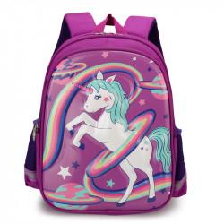 Детский рюкзак, школьный, фиолетовый. Единорог, радуга и планеты.
