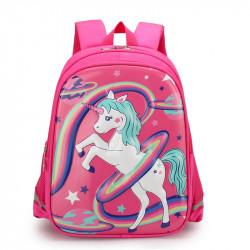 Детский рюкзак, школьный, малиновый. Единорог, радуга и планеты.