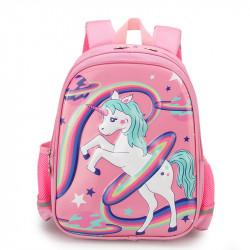 Детский рюкзак, школьный, розовый. Единорог, радуга и планеты.