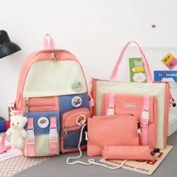 Набор школьный! Рюкзак, сумка, пенал, сумочка. Розовый. Мишка и значки.