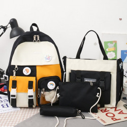 Набор школьный! Рюкзак, сумка, пенал, сумочка. Черный. Мишка и значки.
