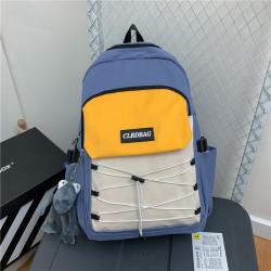 Рюкзак городской, школьный, мужской, синий. Шнуровка и лягушонок Кермит.