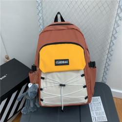 Рюкзак городской, школьный, мужской, коричневый. Шнуровка и лягушонок Кермит.