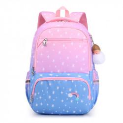 Детский рюкзак, школьный, розово-голубой. Радуга и звезды.