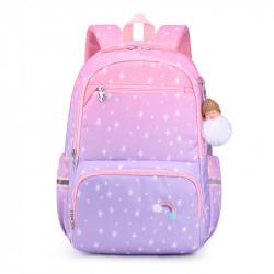 Детский рюкзак, школьный, розово-сиреневый. Радуга и звезды.