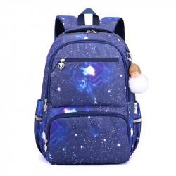 Детский рюкзак, школьный, синий. Галактика.