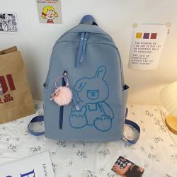 Детский рюкзак, школьный, серый. Плюшевый зайчик.