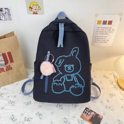Детский рюкзак, школьный, черный. Плюшевый зайчик.