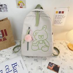 Детский рюкзак, школьный, бежевый с зеленым. Плюшевый зайчик.