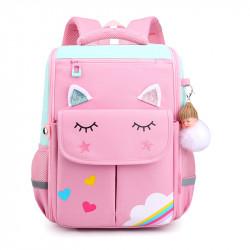 Детский каркасный рюкзак, школьный, розовый. Волшебный единорог.