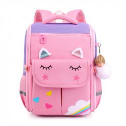 Детский каркасный рюкзак, школьный, розовый с сиреневым. Волшебный единорог.