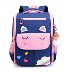 Детский каркасный рюкзак, школьный, темно-синий. Волшебный единорог.