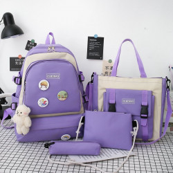 Набор школьный! Рюкзак, сумка, пенал, сумочка. Фиолетовый. Стильные значки.