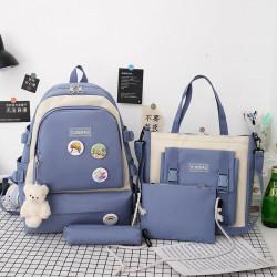 Набор школьный! Рюкзак, сумка, пенал, сумочка. Синий. Стильные значки.