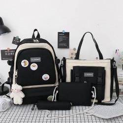 Набор школьный! Рюкзак, сумка, пенал, сумочка. Черный. Стильные значки.