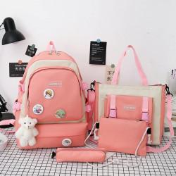 Набор школьный! Рюкзак, сумка, пенал, сумочка. Розовый. Стильные значки.