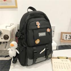 Рюкзак городской, школьный, спортивный, черный. Значки и уточка.