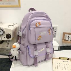 Рюкзак городской, школьный, спортивный, лиловый. Значки и уточка.