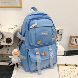 Рюкзак городской, школьный, спортивный, синий. Значки и уточка.