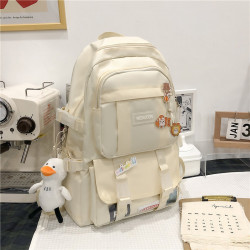 Рюкзак городской, школьный, спортивный, бежевый. Значки и уточка.