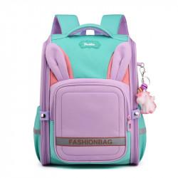 Детский каркасный рюкзак, школьный, сиреневый. Ушки зайца.