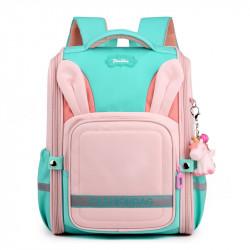 Детский каркасный рюкзак, школьный, розовый. Ушки зайца.