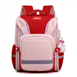 Детский каркасный рюкзак, школьный, красный. Ушки зайца.