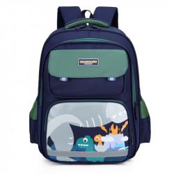 Детский рюкзак, школьный, зеленый. Динозавры и вулкан.