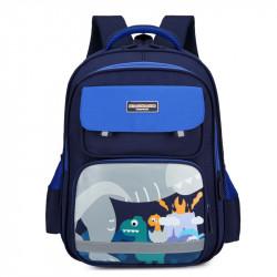 Детский рюкзак, школьный, синий. Динозавры и вулкан.