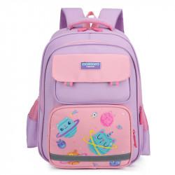 Детский рюкзак, школьный, лиловый. Космические котики.