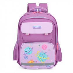 Детский рюкзак, школьный, сиреневый. Космические котики.