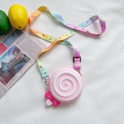 Сумка силиконовая детская, сумка через плечо, розовая. Леденец.