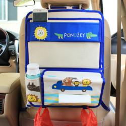 Органайзер для автомобиля с откидным столиком, синий. Звери в автомобиле.