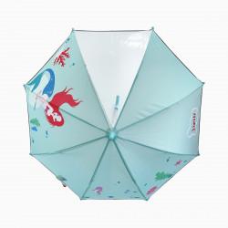 Детский зонтик с прозрачным окошком, мятный. Русалка.